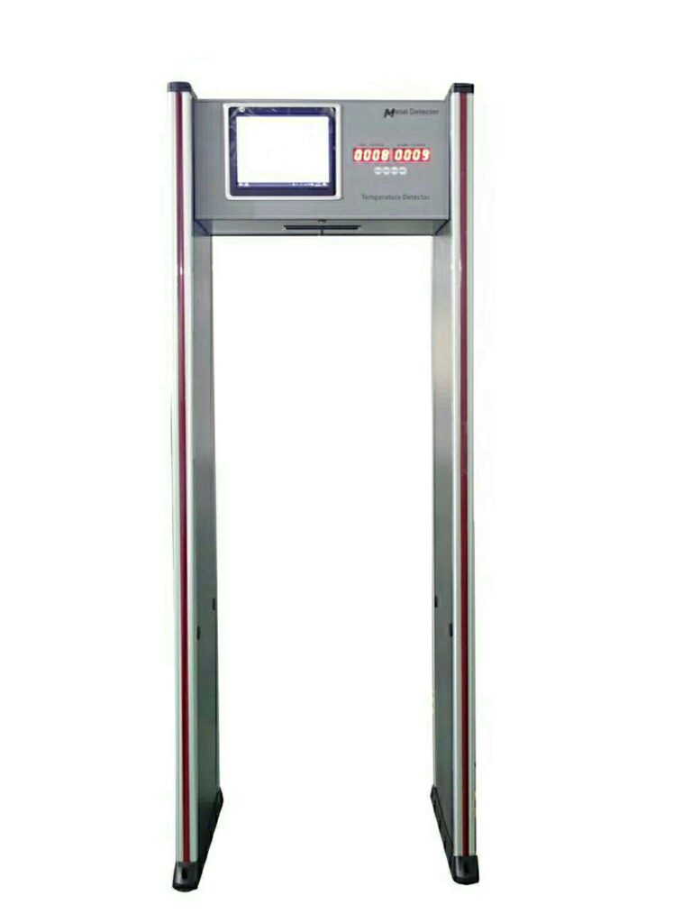 Metal detector temperature screening gate